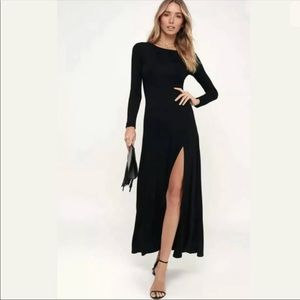Lulus 'Swept Away' Black Long Sleeve Maxi Dress